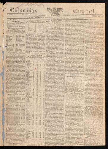 Columbian Centinel, April 12, 1815
