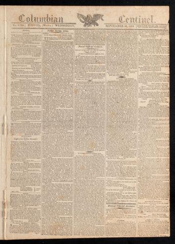 Columbian Centinel, September 16, 1812