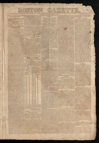 Boston Gazette, September 14, 1812