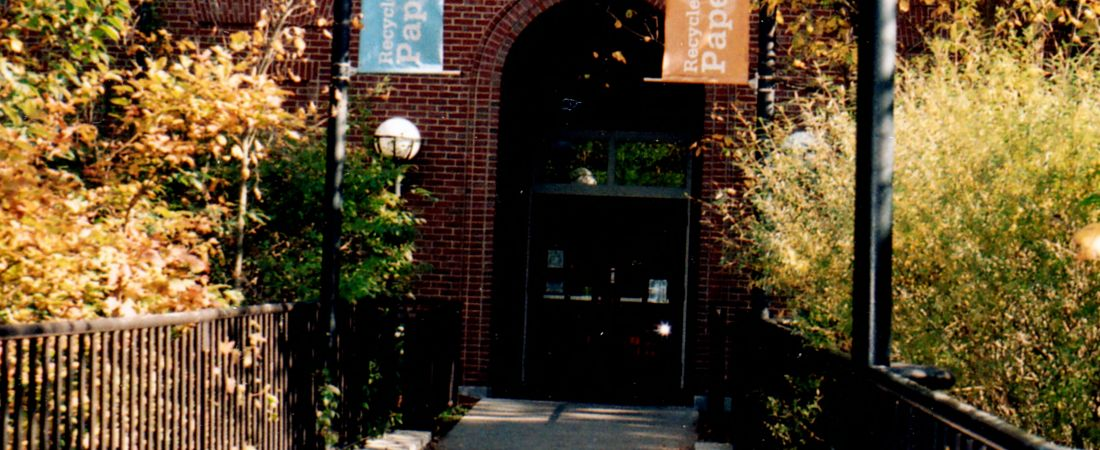 Newton Free Library, 330 Homer St., Newton, MA. Bridge from parking lot
