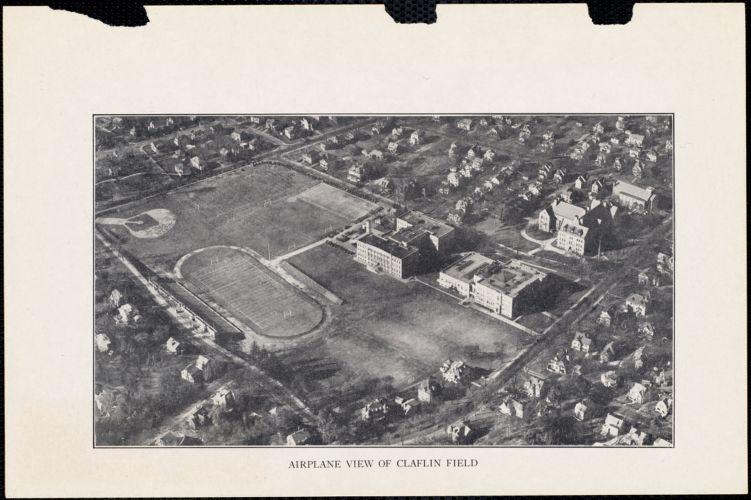 Airplane view of Claflin Field, Newton High School
