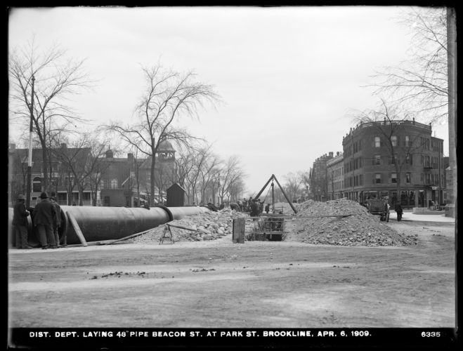 Distribution Department, Low Service Pipe Lines, 48-inch pipe, laying pipe, Beacon Street at Park Street, Brookline, Mass., Apr. 6, 1909