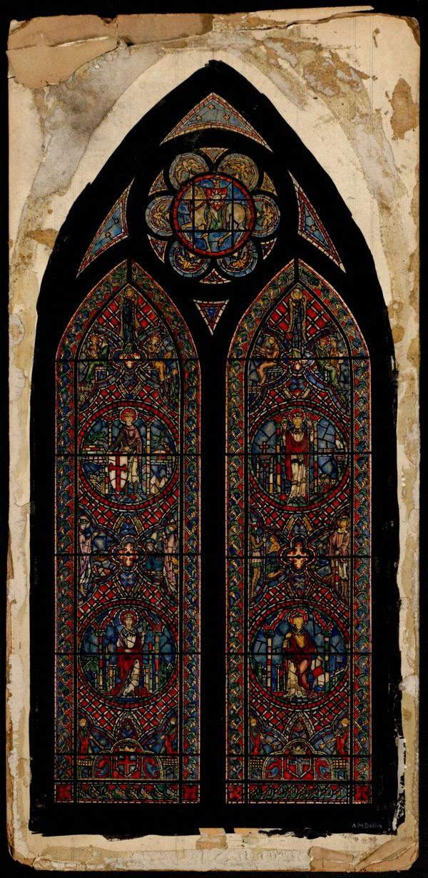 Miniature study for stained glass windows painted on a board