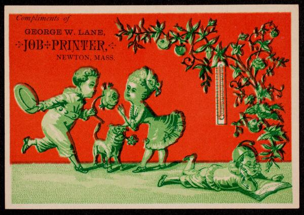 Newton photographs collection : advertising trade cards - Advertising trade cards - Newton trade cards - George W. Lane, Job Printer, Newton, Mass. -
