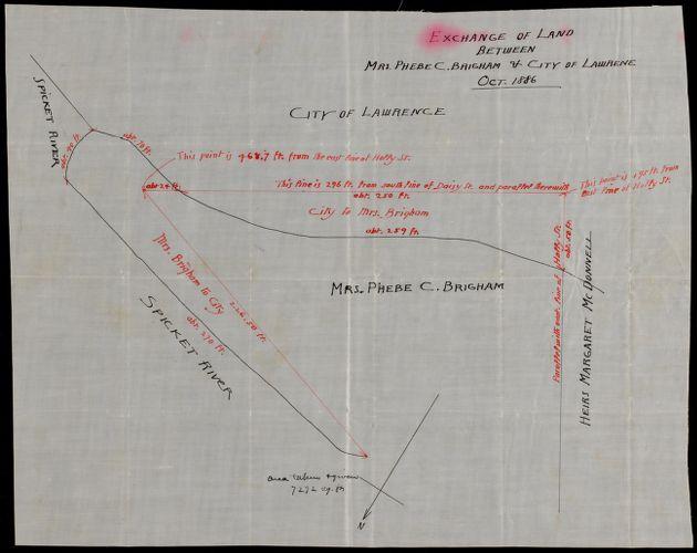 Exchange of land between Mrs. Phebe C. Brigham & City of Lawrence