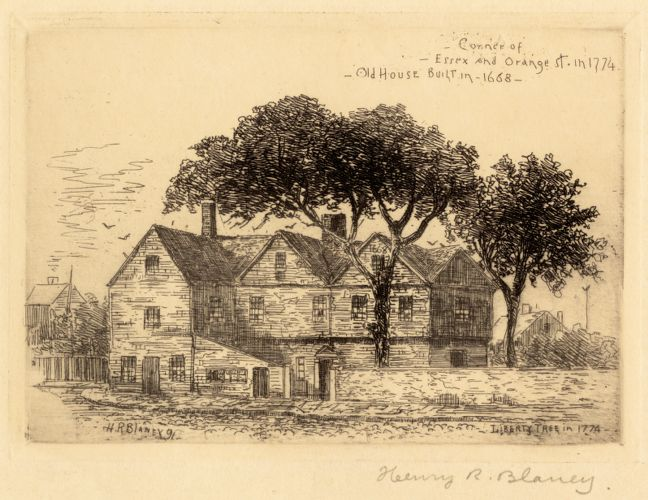 Corner of Essex and Orange St. in 1774. Old House built in 1668