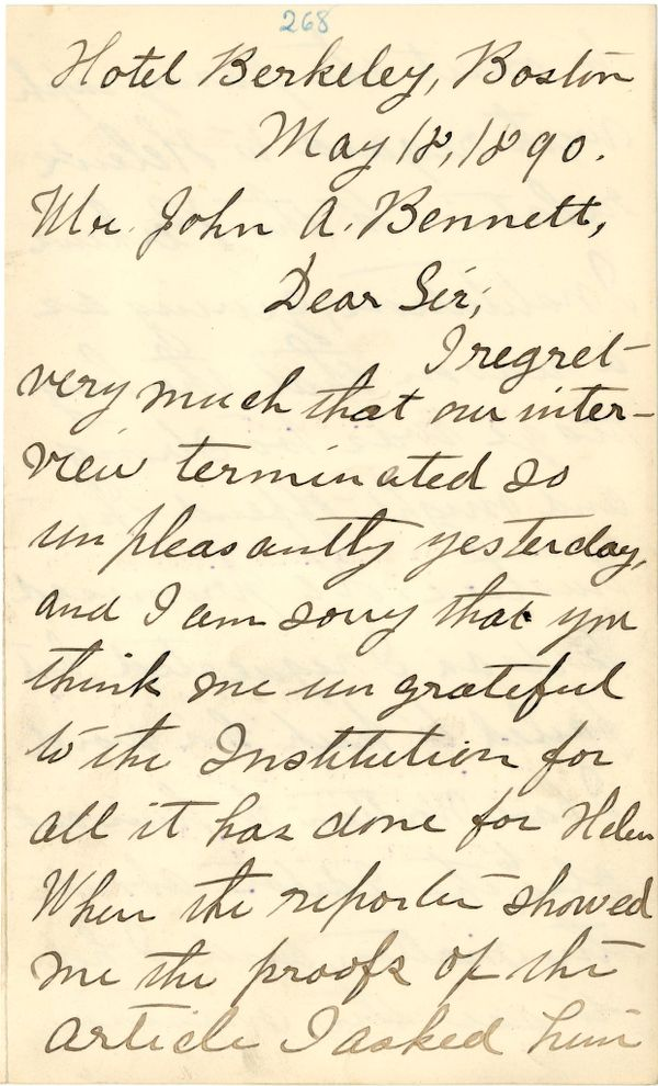 Letter from Annie Sullivan to John Bennett, May 18, 1890 (p. 1 of 3)