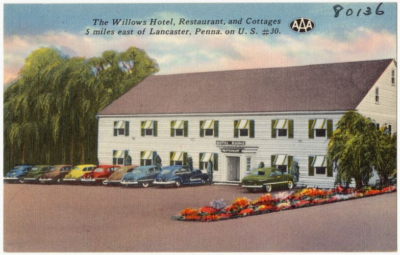 The Willows Hotel, Restaurant, and Cottages, 5 miles east of Lancaster, Penna on U.S. #30