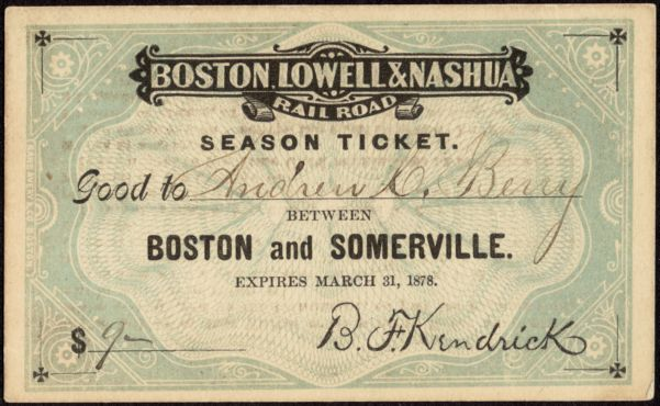 Boston, Lowell & Nashua Railroad season ticket