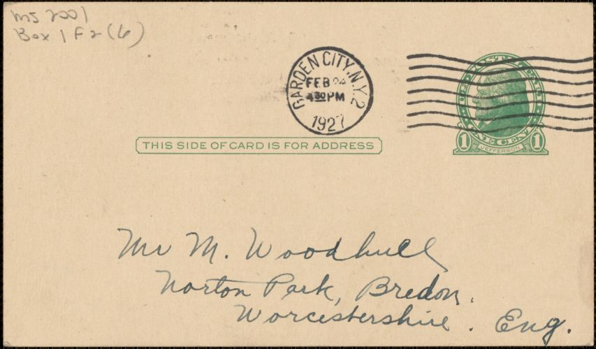Doubleday, Page, & Co. autograph note signed (postcard) to [Zula Maud Woodhull?], Garden City, N.Y., February 24, 1927