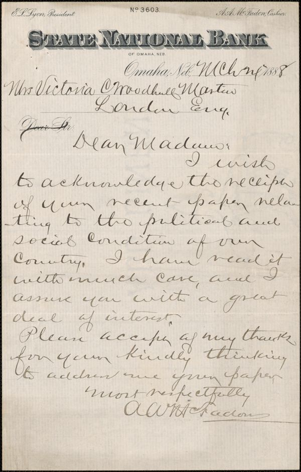 A.A. McFadon autograph letter signed to Victoria Woodhull Martin, Omaha, March 1888