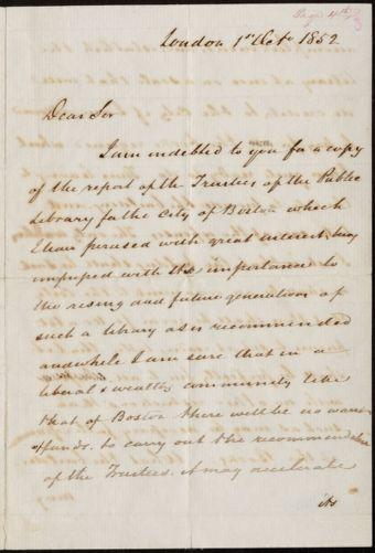 Letter from Joshua Bates, London, to Mayor Benjamin Seaver, Boston, 1852 October 1