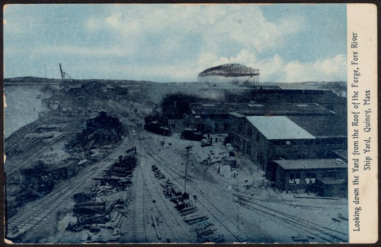 Looking down the yard from the roof of the forge, Fore River Ship Yard, Quincy, Mass.