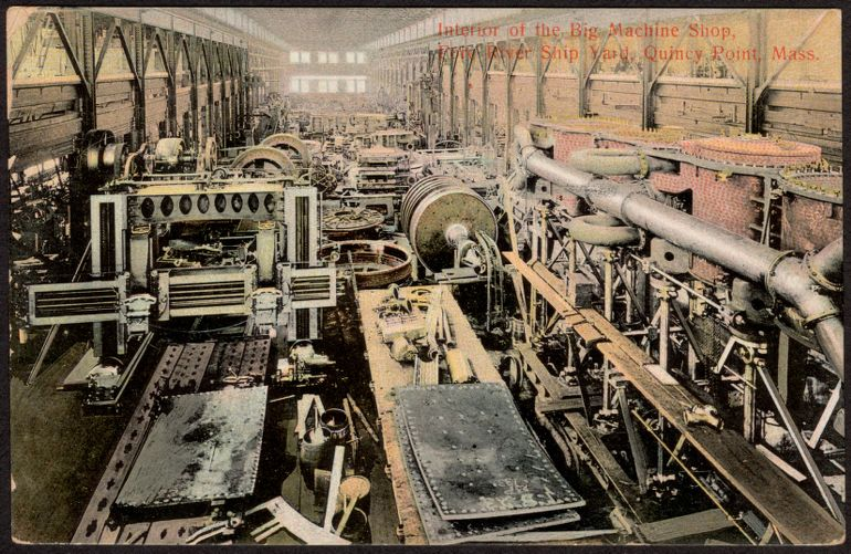 Interior of the big machine shop, Fore River Ship Yard, Quincy Point, Mass.