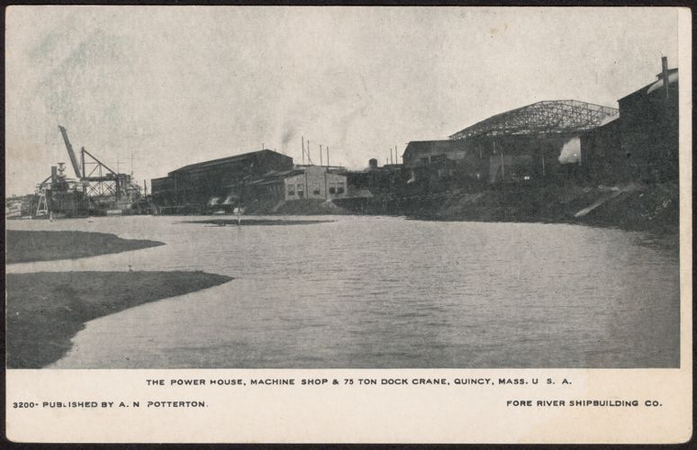 The power house, machine shop & 75 ton dock crane, Quincy, Mass. U.S.A.