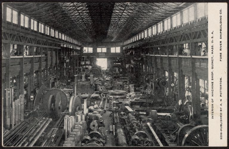 Interior of machine shop, Quincy, Mass. U.S.A.