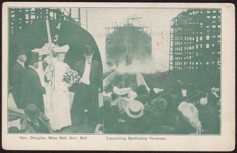 Gov. Douglas, Miss Bell, Gov. Bell, launching Battleship Vermont