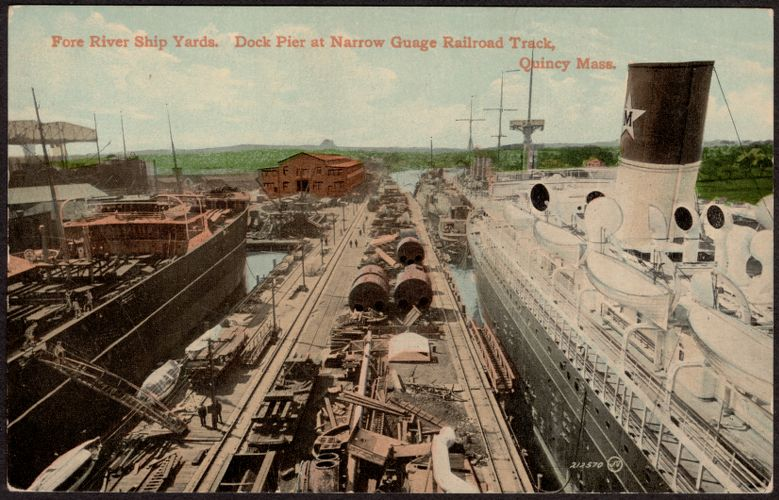Fore River Ship Yards. Dock pier at narrow guage railroad track, Quincy Mass.