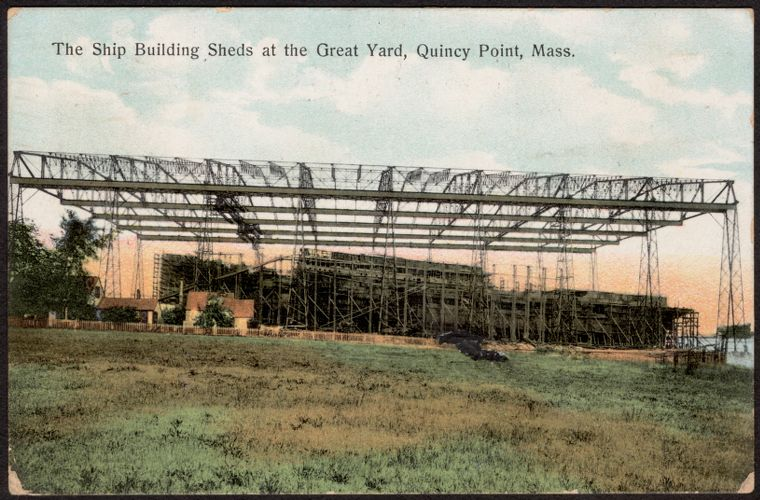 The ship building sheds at the great yard, Quincy Point, Mass.