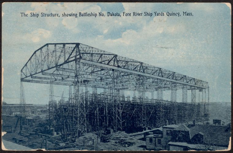 The ship structure, showing Battleship No. Dakota, Fore River Ship Yards Quincy, Mass.