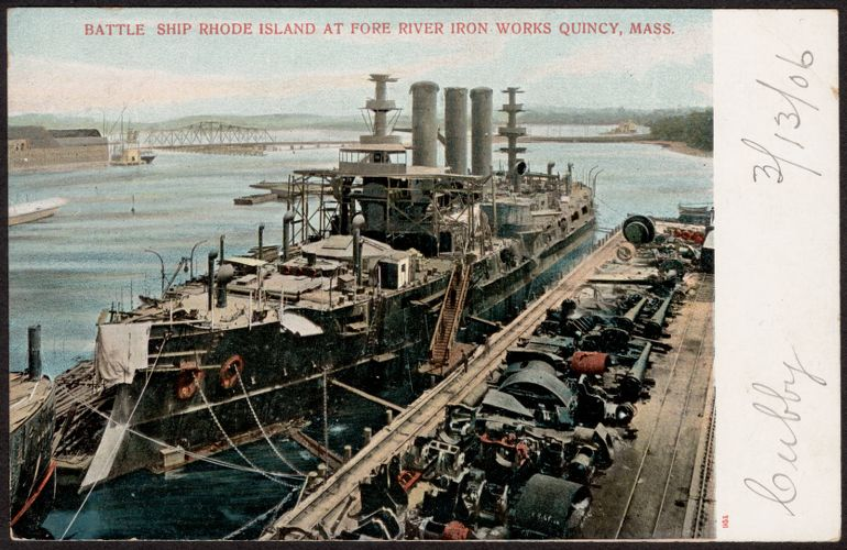 Battle Ship Rhode Island at Fore River Iron Works Quincy, Mass.