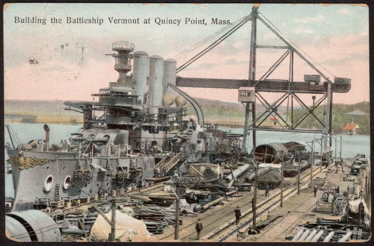 Building the Battleship Vermont at Quincy Point, Mass.