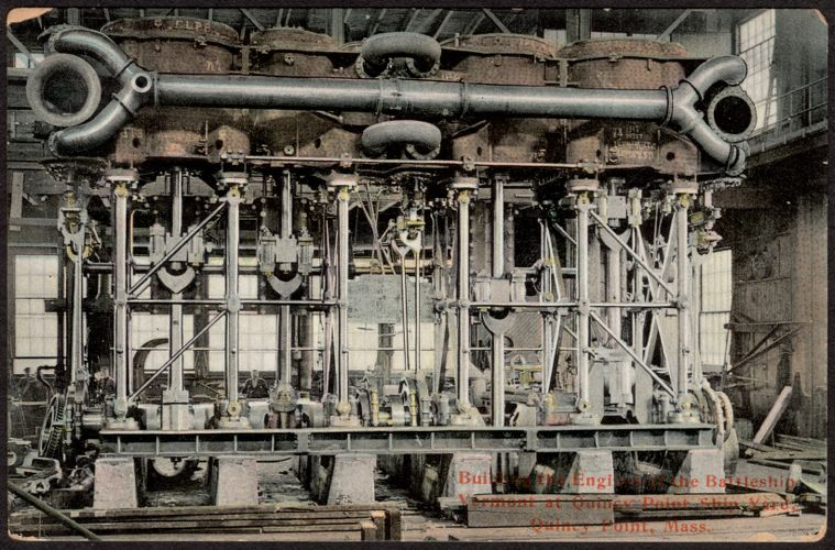 Building the engine of the Battleship Vermont at Quincy Point Ship Yard, Quincy Point, Mass.