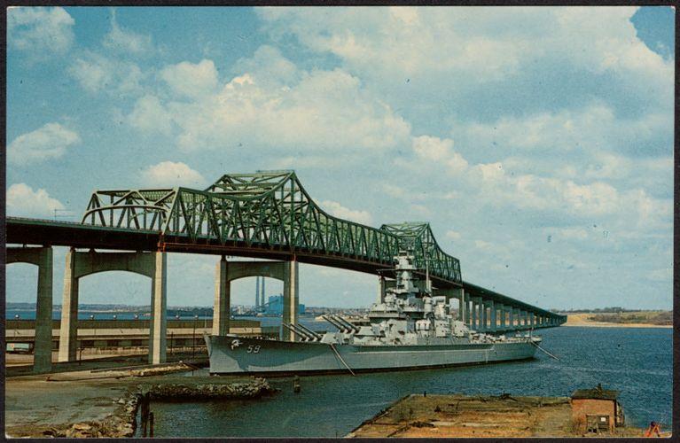 The battleship U.S.S. Massachusetts and Braga Bridge, Fall River, Massachusetts