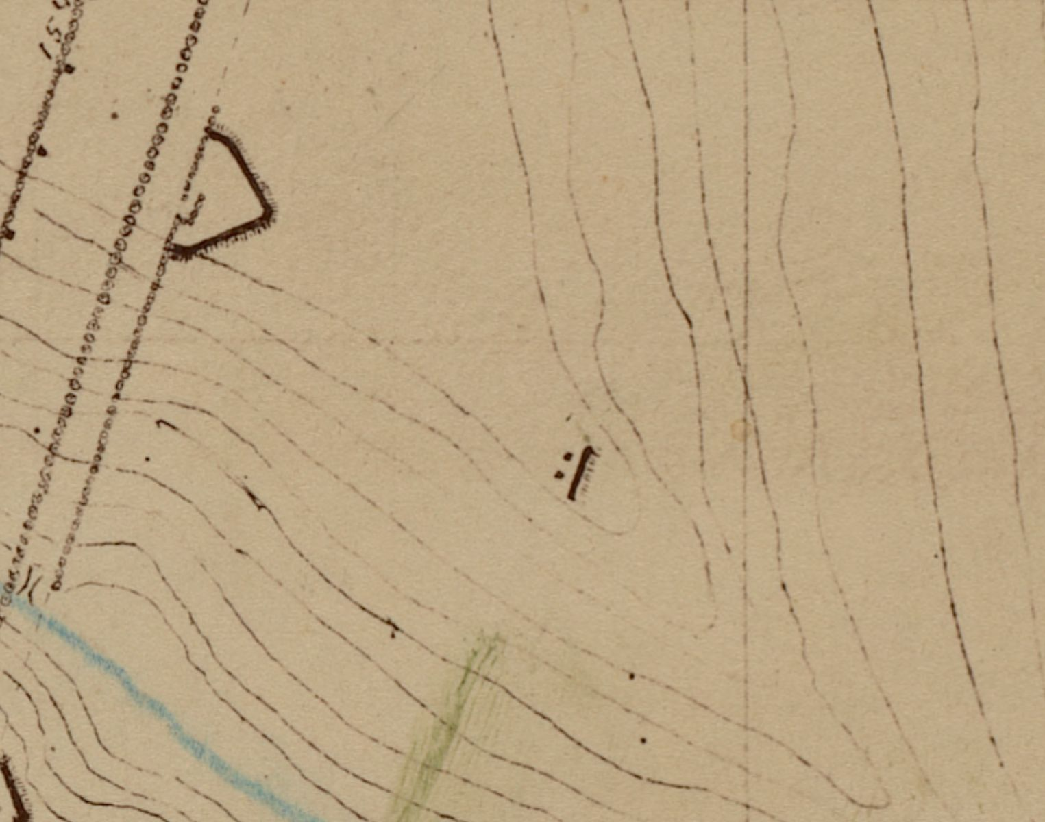"""The black line and two dots at the center of this excerpt show the """"piece of embankment"""" mentioned by Wilson"""
