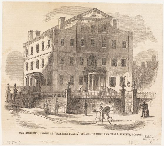 "Old building, known as ""Harris's Folly,"" corner of High and Pearl Streets, Boston"