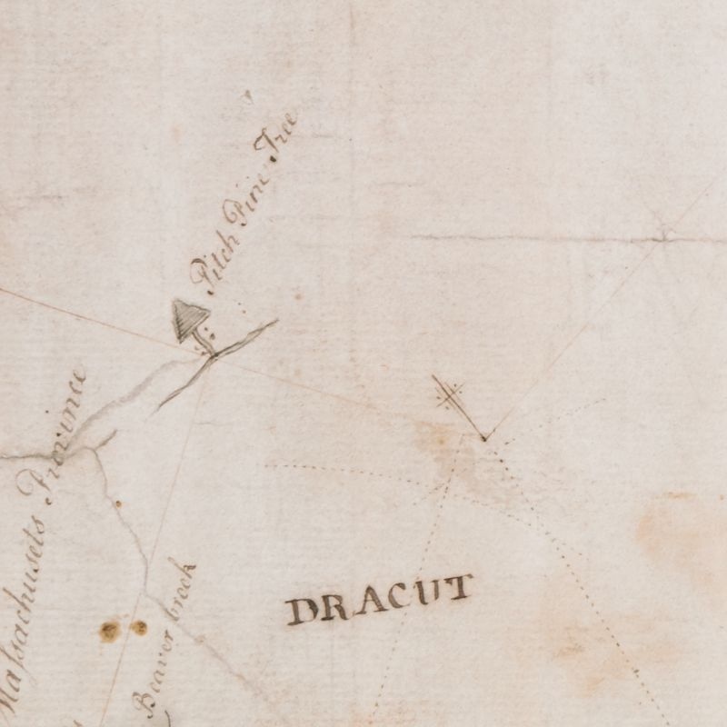 The 'pitch pine tree' where the NH-MA boundary begins running due west, on George Mitchell's 1741 map