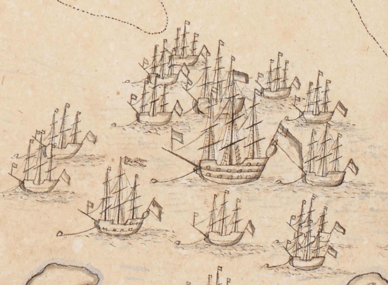 """Detail from """"An Exact Draught of Bostone harbour, with a Survey of most of the Islands about it."""" (1711)"""