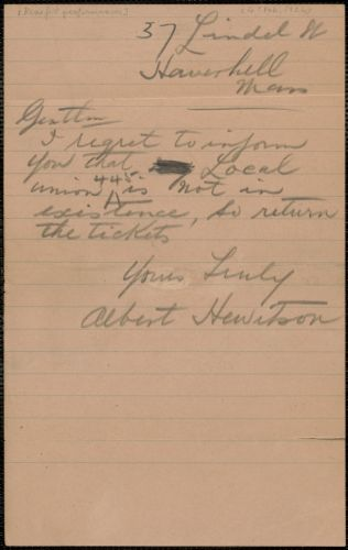 Albert Hewitson autograph note signed to Sacco-Vanzetti Defense Committee, Haverhill, Mass., [Februray 4?, 1924]