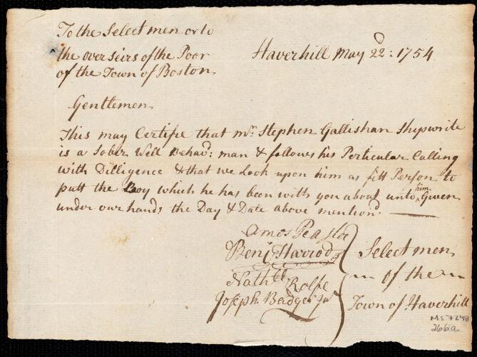 Document of indenture: Servant: Green, Thomas. Master: Gallisham, Stephen. Town of Master: Haverhill