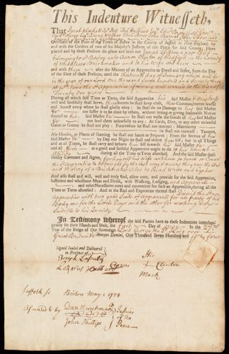 Document of indenture: Servant: Clifton, Joseph. Master: Clinton, Aaron. Town of Master: Medford