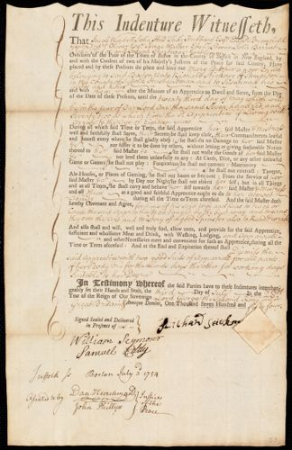 Document of indenture: Servant: Butcher, Mary. Master: Stickney, Richard. Town of Master: Stoughton
