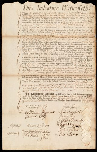 Document of indenture: Servant: Gray, William. Master: Young, Joshua. Town of Master: Boston