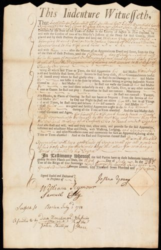 Document of indenture: Servant: Gray, William. Master: Young, Joshua. Town of Master: Boston.