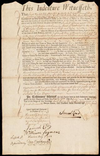 Document of indenture: Servant: Glover, Rachel [Rachell]. Master: Read, Samuel. Town of Master: Uxbridge