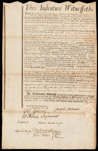 Document of indenture: Servant: Burton, James. Master: Putnam, Joseph. Town of Master: Boston