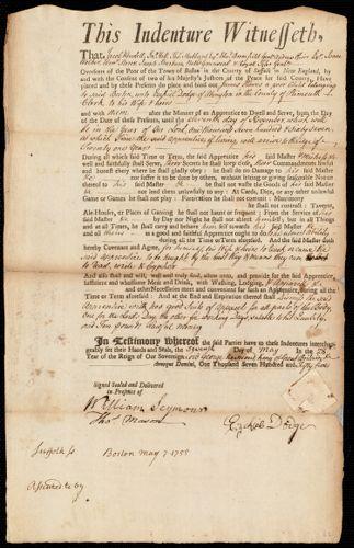 Document of indenture: Servant: Hawes, James. Master: Dodge, Ezekiel. Town of Master: Abington