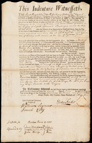 Document of indenture: Servant: Haden, Sarah. Master: Foster, Elisha. Town of Master: Boston