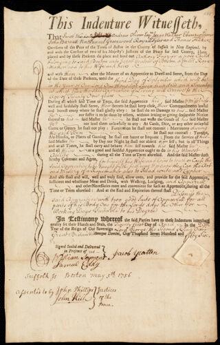Document of indenture: Servant: Frazier, Anthony. Master: Yeatten [Yeaton], Jacob. Town of Master: Boston