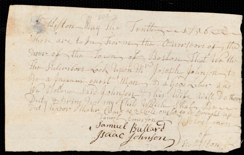 Document of indenture: Servant: Thomas, William. Master: Johnson, Joseph. Town of Master: Holliston. Selectmen of the town of Holliston autograph document signed to the Overseers of the Poor of the town of Boston: Endorsement Certificate for Joseph Johnson.