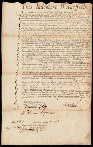 Document of indenture: Servant: Thomas, Isaiah. Master: Fowle, Zachariah. Town of Master: Boston