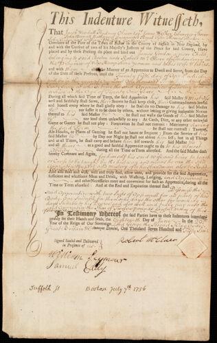 Document of indenture: Servant: Gordon, James. Master: McClure, Robert. Town of Master: Londonderry