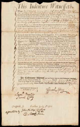 Document of indenture: Servant: Perraway, James. Master: Ashley, Israel. Town of Master: Westfield