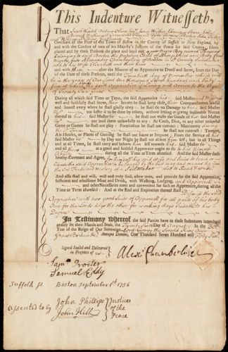 Document of indenture: Servant: Humphreys, Thomas. Master: Chamberlain, Alexander. Town of Master: Boston