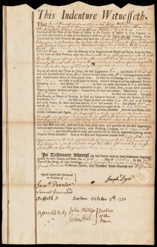 Document of indenture: Servant: Humphreys [Humphrys], Robert. Master: Dyer, Joseph. Town of Master: Boston