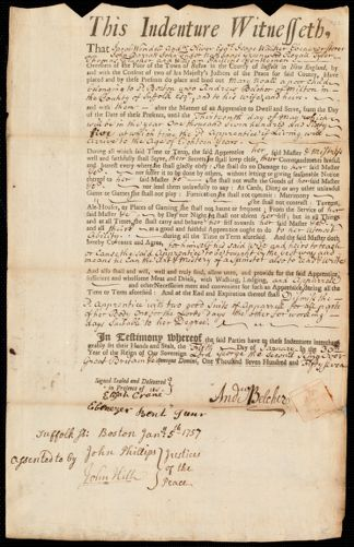 Document of indenture: Servant: Noall, Mary. Master: Belcher, Andrew. Town of Master: Milton